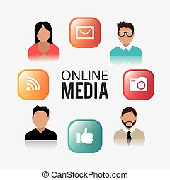 Online media design. - Online media design over white ...