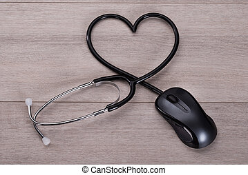 Online medical advice concept - Stethoscope forming heart...
