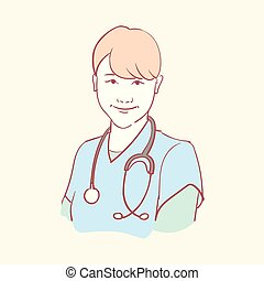 online medical assistant doctor support hand drawn style ...