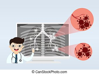 Ask a doctor. Respiratory system examination and treatment. Internal organ inspection check for illness, disease or problems. vector, illustration.