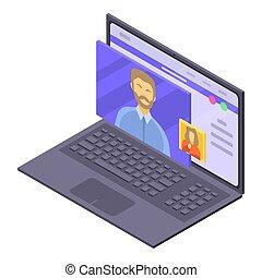 Online medical consultation icon, isometric style