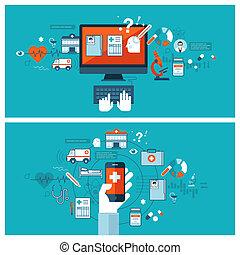 Online medical diagnosis and treatment. Flat design concepts...
