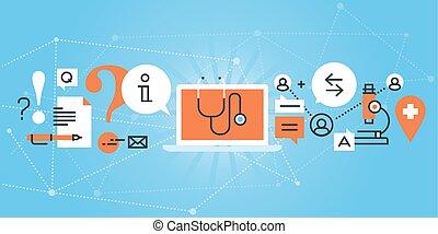 Online medical diagnosis - Flat line design website banner ...