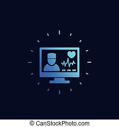 Online medical diagnosis icon