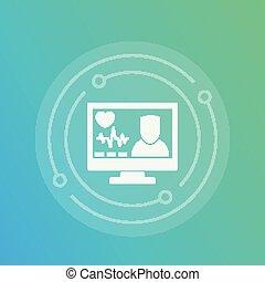 Online medical diagnosis icon, vector