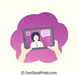 Online medical diagnosis, medic consultation