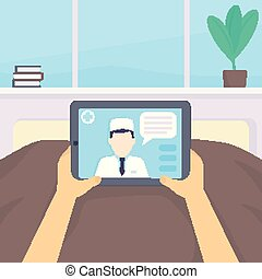Online medical diagnosis, vector illustration