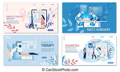 Online Medical Services Flat Landing Page Set. Cancer Medicare, Robotic Surgery, Radiation Therapy, Diabetes Treatment and Control. Cartoon Doctors and Patients. Vector Illustration