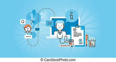 Online medical services - Flat line design website banner of...