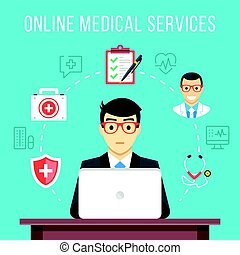 Online medical services. Man at computer asking for medical advice. Flat icons and thin line icons set, modern flat design graphic elements. Vector illustration