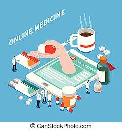 Online Medicine Isometric Composition