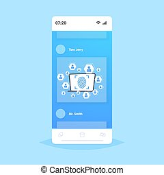 online mobile application biometric fingerprint security data protection access future computer technology user identification concept smartphone screen flat