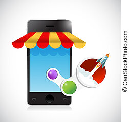 online mobile shop rocking sales concept