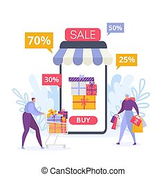 Online mobile shopping and sale, buyers people vector illustration isolated.