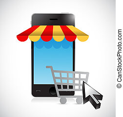 online mobile shopping store cart illustration