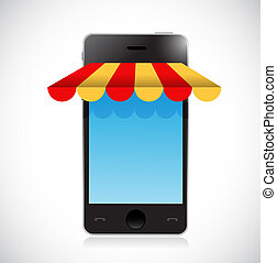 online mobile shopping store tent illustration