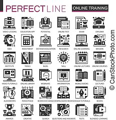 Online modern education black mini concept icons and infographic symbols set