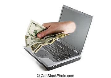 A hand coming out of a computer screen with American cash.