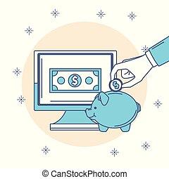 Online money savings - Money savings on internet vector...