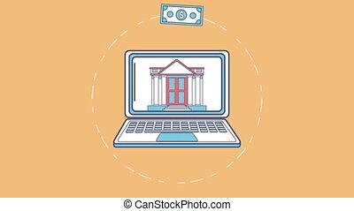 Online money transfer HD animation