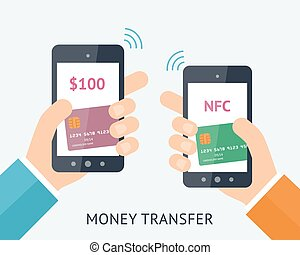 Online money trasfer concept - Flat vector illustration....