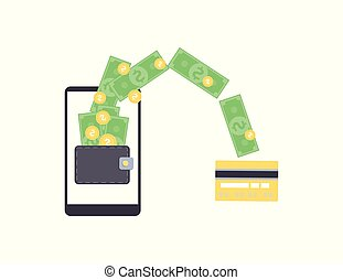 Online money withdrawal from mobile wallet on smartphone