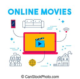 Online movie and tv streaming app service concept