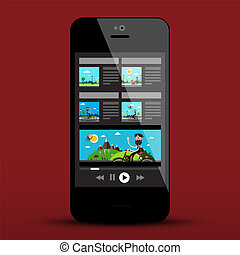 Online Movie App on Smartphone. Video Player on Mobile Phone. Vector Technology Icon.