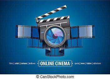 Online movie theater cinema icon design - Online movie ...
