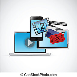 online movies concept illustration design