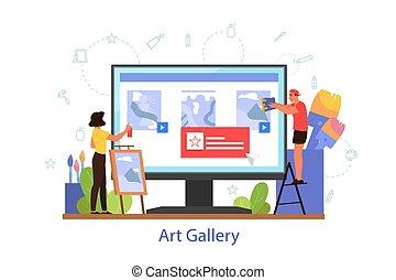 Online museum or art gallery concept. Artist online platform. Virtual gallery, excursion. Modern artwork exhibit. Vector illustration in cartoon style