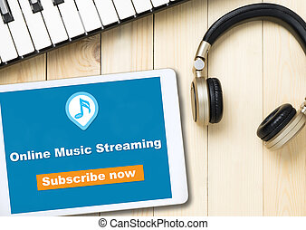 Online music streaming subscribe on table application