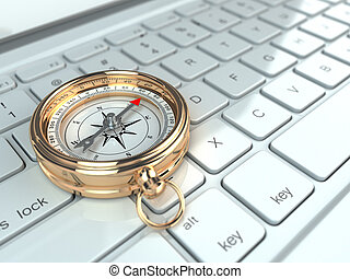 Online navigation. Compass on laptop keyboard. 3d