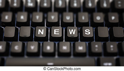 Online news, journalism concept. News text written on keypad. Black keys with white letters message for press articles on pc keyboard. Blur buttons background.