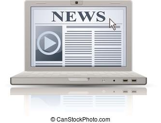 Online News - Online newspaper. Laptop and news website. Web...