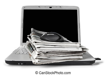 Online News - Newspapers stacked on laptop. On-line news...