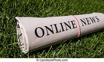 online newspaper on green meadow
