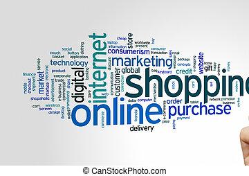 online, nuvem, shopping, palavra