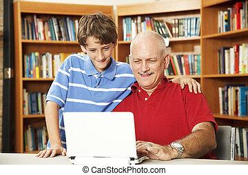online, ojciec, syn