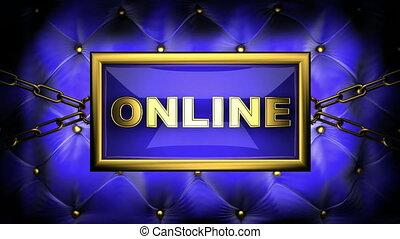 online  on velvet background