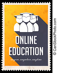 online onderwijs, op, gele, in, plat, design.