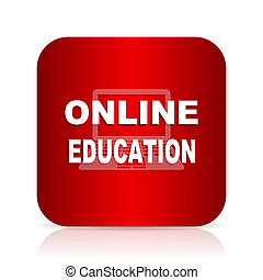 online onderwijs, rode plein, moderne, ontwerp, pictogram