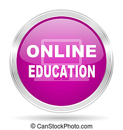 online onderwijs, roze, moderne, web ontwerp, glanzend, cirkel, pictogram