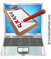 online, onderzoeken; inspecteren;, concept, draagbare computer, klembord