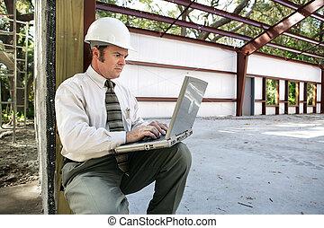 online, op, gebouw stek