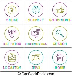 Online Operator Support Color Outline Icon Set