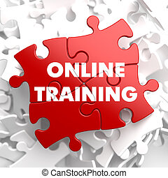 online, oplæring, på, rød, puzzle.