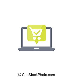 online, ordem, shopping, compra, carreta, ícone