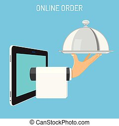 Online Order Concept. Hand holds tray with cover. Internet...