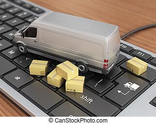 online, order, concept., karton, verpakken, doosje, met,...